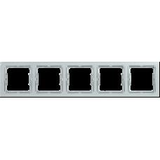 РУ-5-БС Рамка 5 мест. квадратная BOLERO Q1 серебряный IEK EMB52-K23-Q1