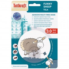 18693 Tatkraft FUNNY SHEEP TELA адгезивный крючок. Диаметр 8 см. До 3 кг. Упаковка блистер. Авторский дизайн 18693