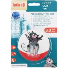 18228 Tatkraft  FUNNY CATS TOM адгезивный крючок. Диаметр 8 см. До 3 кг. Упаковка блистер. Авторский дизайн 18228