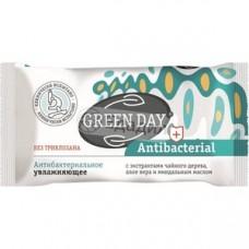 Мыло антибактериальное увлажняющее GREEN DAY Antibacterial экстрактами алое вера, чайного дерева и миндальным маслом 90 г.*40 НОВИНКА!!!  (ШК: 4627087924751 ) 870679