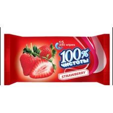 Влажные  салфетки  100% Чистоты для детей 10шт. клубника 180шт 1127769